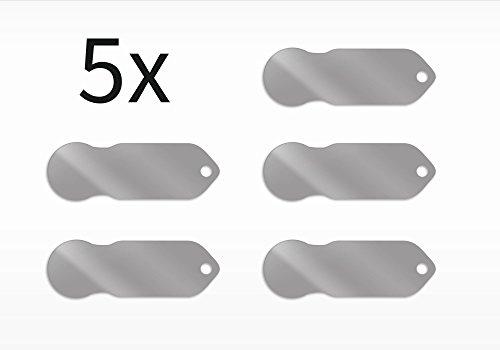 Code24 Einkaufswagenlöser, 5 x blanko Schlüsselanhänger mit Einkaufschip & Schlüsselfinder, schönes Firmengeschenk, inkl. Registriercode für Schlüsselfundservice, Set - 5 Schublade Seitliche Metall
