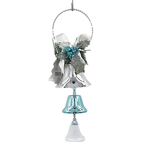 LJSLYJ Silver Blue Christmas Open Horn Pendants Jingle Bell Christmas Tree Door Hanging Christmas Decorations
