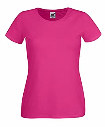 Fruit of the Loom: Lady-Fit Crew Neck T 61-378-0, Größe:XS (8);Farbe:Fuchsia