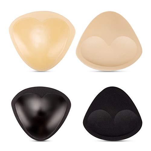 MELLIEX 2 Paar Selbstklebend BH Einlagen, Wiederverwendbar Atmungsaktiv Sponge Bra Push-up Pads(Schwarz + Beige), Mittlere