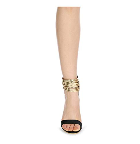 DUQI22 Womens Diamante Keilabsatz, Schlanke Metallic Gold Cut Out Strass Shimmer Knöchelriemen Sandalen Schuhe,Black,39EU Black Womens Heels Stilettos Schuhe