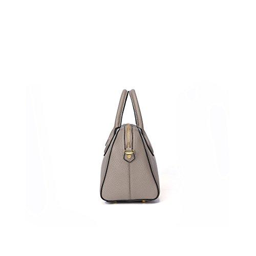 Yvonnelee delle donne di modo del sacchetto di cuoio della borsa spalla dell'unità di elaborazione borsa a tracolla pelle Shopper elegant Borse Grigio