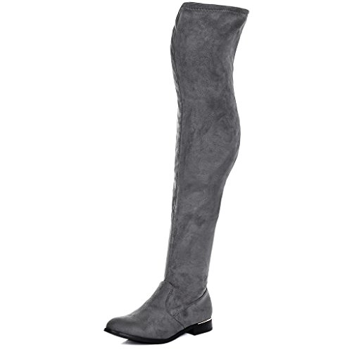 SPYLOVEBUY BARDOT Damen Flache Overknee Stiefel Grau - Synthetik Wildleder