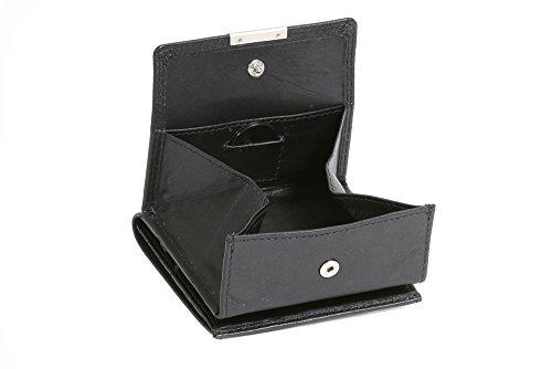LEAS Wiener-Schachtel mit großer Kleingeldschütte, Echt-Leder, schwarz Special Edition (Visa-geburtstag-geschenk-karte)