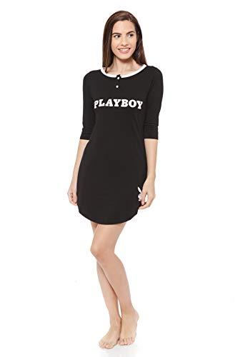 58127948bc Play Boy Nightwear Camisón Let s Go Bed Cozy Nights Negro Blanco L