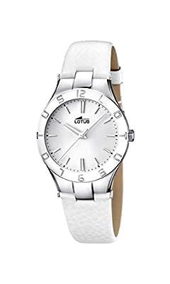 Lotus-Reloj de cuarzo para mujer con esfera analógica y correa de piel color blanco plata 15899/1