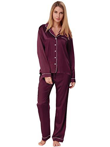 Klassische Kerbe-kragen (Zexxxy Damen Pajama Langarm Satin-knopf top mit Hose klein dunkelviolett)
