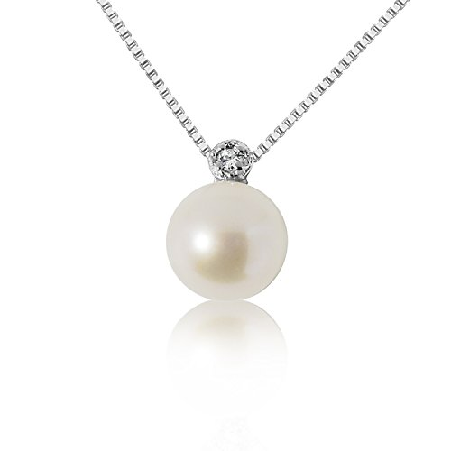 Collana con Ciondolo Oro e Diamanti Oro Bianco 9Kt 375 Diamanti 0.02Carati-Catena a maglia 42cm-Perla 6.0/6.5mm Clicca su MILLE AMORI blu e scopri tutte le nostre collezioni