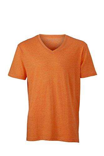 JAMES & NICHOLSON Modisches T-Shirt mit V-Ausschnitt Orange-Melange