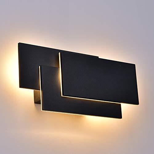 ZUZITO 12W Cree LED Moderne Wandlampe Wandleuchte Aluminium Kunst up down effekt Wandbeleuchtung Flur Treppen(schwarz,Warmes Licht) (Streifen-bett-satz)