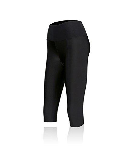 COOVY Damen Petite Junioren & Teens Running 3/4Tights, Workout Capri Crop Yoga Pants, Damen, Black, Style PS11, X-Large