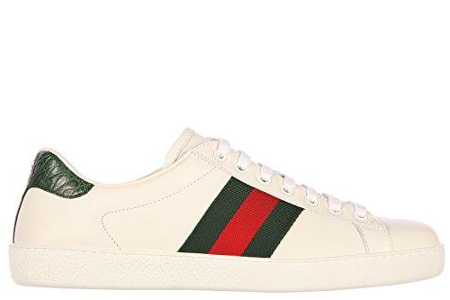 Gucci scarpe sneakers uomo in pelle nuove mirò soft nastro bianco EU 40 386750 A3830 9071