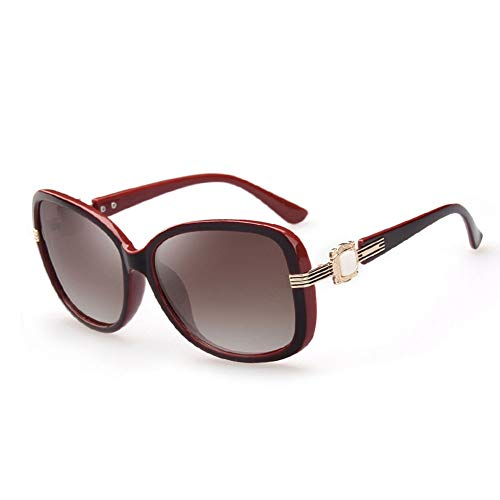 Thirteen Polarized Sunglasses Women's Long Faces Sonnencreme Komfortable Sonnenbrille Eleganter Retro-Look, Der Blendung Abhält Und Stößen Widersteht (Color : Wine red)
