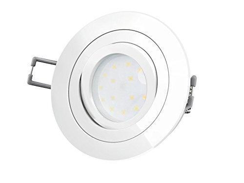 LED-Einbaustrahler Ultra flach (30mm) RF-2 rund weiß lackiert schwenkbar mit 5W LED Modul warmweiß 2700K 230V ohne Trafo | Oberfläche weiß glänzend lackiert | Top Design - Oberfläche Top