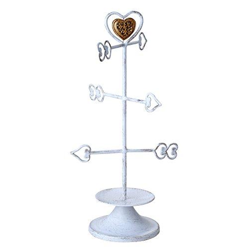 Mopec Schmuckkästchen Pfeile Herz mit Box, Metall, Weiß, 10x 15.5x 31cm
