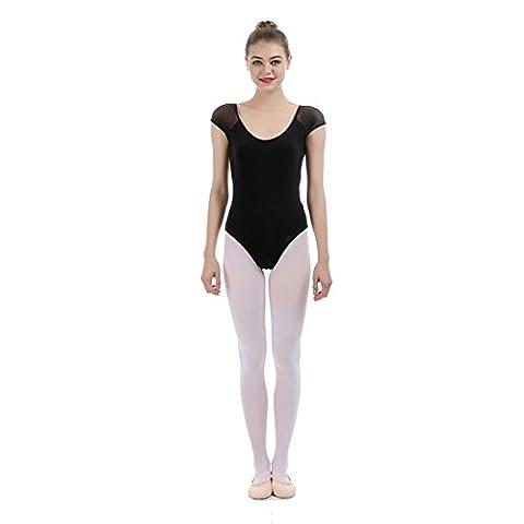 iMucci Du-pont Lycra Cotton Gauze Short Sleeve Black Women Professional Ballet Gymnastics Leotard Unitard Leotards