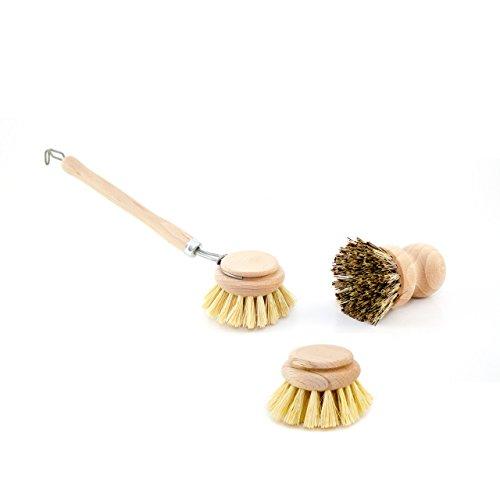 Lantelme 6430 Spülbürste mit Ersatzkopf und Topfbürste im 3 TLG. Set - Geschirrbürsten Holz mit echt Fibre und echt Union Bestückung