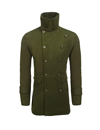 zeela Mens Casual Pea Coat Jacket Double Breasted Wool Blended Trench Coat Long Sleeve Notched Lapel Overcoat With Pockets Outerwear Spring Autunm Winter Black Grey Army Green