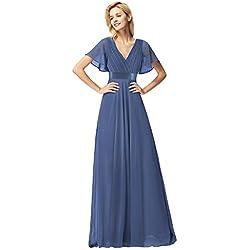 Ever-Pretty Cuello en V Vestido de Noche para Mujer Dusty Navy 46