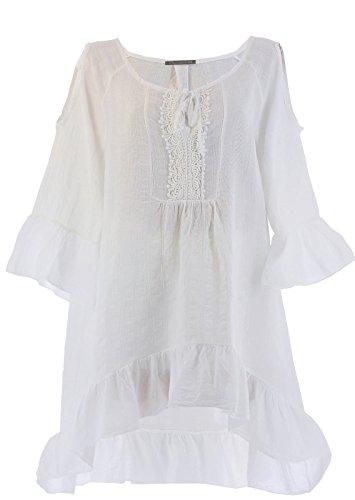 Charleselie94® - robe tunique asymétrique bohème dentelle été blanc CHOUPETTE BLANC Blanc