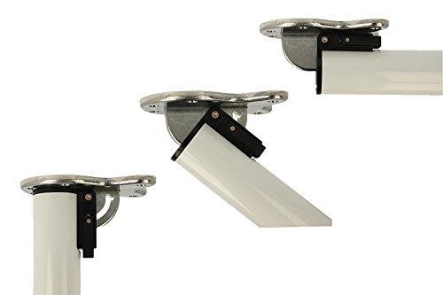 MS Beschläge® abklappbares Tischbein Möbelfuss Tischfuss ø 50mm aus Metall Höhe 870mm (Weiss)