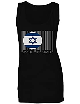 Hecho en mundo del viaje de israel novedad divertida camiseta sin mangas mujer uu45ft