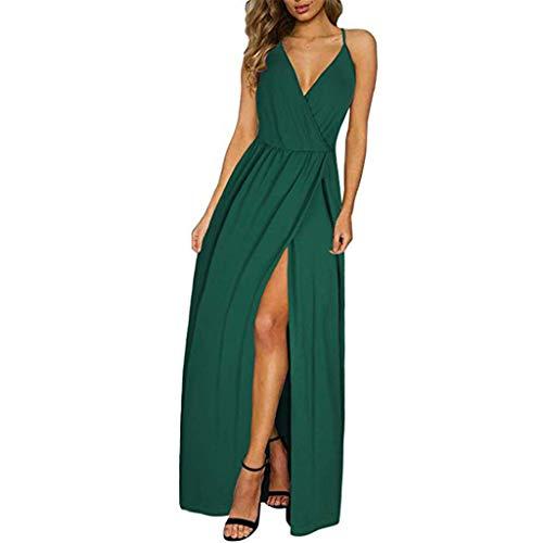 BHYDRY Frauen tiefes V-Ansatz Bügel beiläufiges Blumenkleid Farbe Maxi Split Kleid