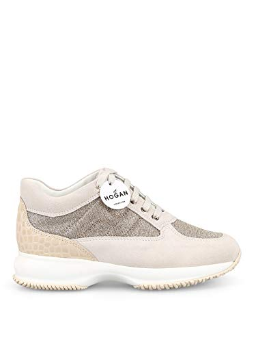 Hogan Sneaker Interactive in Suede Beige e Lurex HXW00N00E10KFI0QCA Beige Donna 40