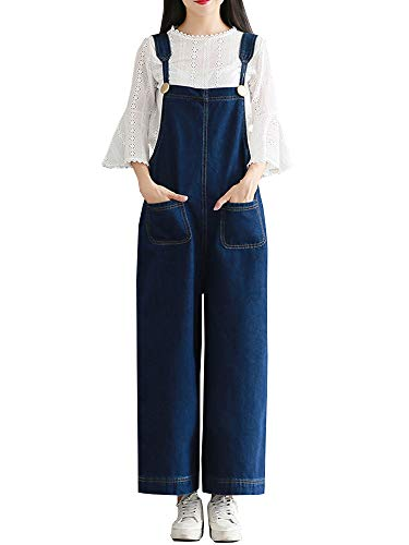 b87a0ba0c0404 Sobrisah Women's Retro Loose Casual Jeans Dungarees Sleeveless Playsuit  Ankle Length Denim Overall Jumpsuit XL-12