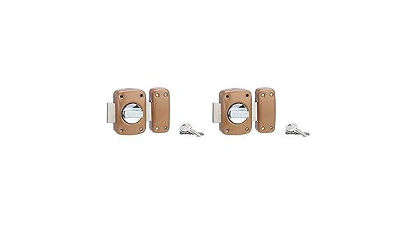 Serrurerie de Picardie 00803110 Lot de 2 verrous de porte SP 3010 /à bouton et cylindre /à goupilles 45 mm /époxy bronze 3 cl/és