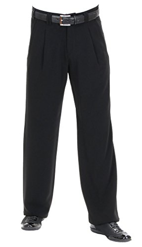 Herren Hosen in Schwarz mit Gerade geschnittene Beine, Retro Vintage Swing Stil Anzughose Business Casual Model Swing Größe 56