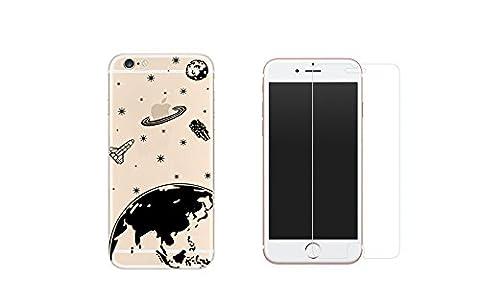 NOVAGO Combo 1 Verre trempé + 1 coque gel imprimée fantaisie et solide pour iPhone 6 et 6S -Espace