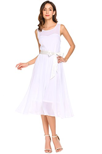 Meaneor Damen Chiffon Kleid Wadenlang Ärmellos A-Linie Kleid Elegant Sommerkleid Cocktailkleid