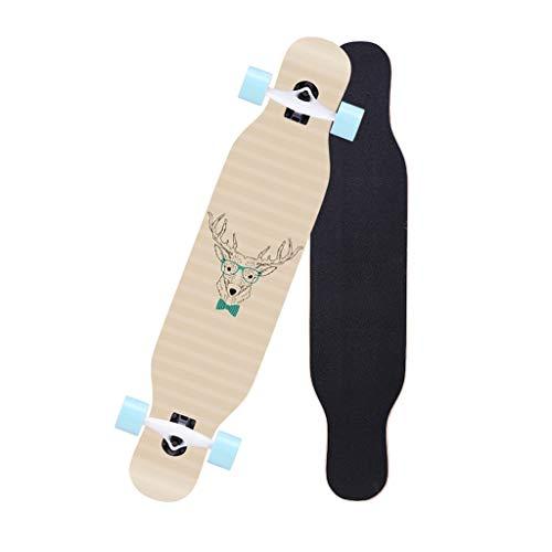 LINGLING-Skateboard Longboard Skateboard Completo Principiante Cuatro Ruedas Monopatín Doble Monopatín Adolescente Adulto Cepillo Tablero De Baile Callejero - Ciervo (Color : Wood Color)