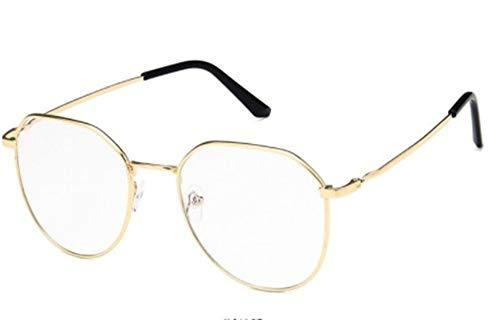 Amio Metall polygonalen Brillengestell, Retro Art Flat Mirror, Männer und Frauen blau blockieren Brille unregelmäßig geformte Brillengestell Anti-Blaue Computerspiel-Brille (Style : 2)