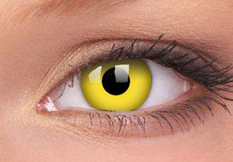 Farbige Kontaktlinsen crazy Gelb Avatar gelbe Kontaktlinsen farbig ohne Stärke mit Kontaktlinsenbehälter Karneval/Halloween