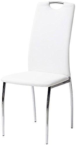 Tuoni cribel alba set sedia, finta pelle, metallo cromato, 4 pezzi, bianco