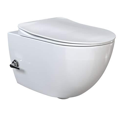 Aqua Bagno | Taharet WC | Inkl. flachem Softclose WC-Sitz | Dusch-WC | Hänge-WC | Toilette mit Bidet-Funktion | Warm-Kalt-Mischer | Tiefspülklosett | Keramik | Spülrandlos | 510 x 352 x 340 mm