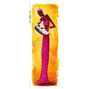 Renkalik renkalikqsipo017p 25x 70cm Mujer Masai 3Hoja de Papel de póster de impresión de Seda (Juego de)