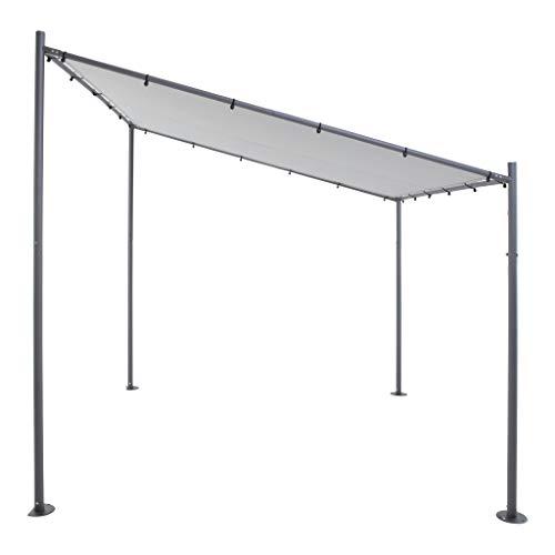 Terrassenüberdachung/Pavillon | Grau | 285 x 220 x 310 x 295 cm (HxHxLxB) | SORARA | Gartenzelt
