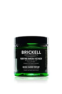 Brickell Men's Purifying Charcoal Face Mask - Natural & Organic - Activated Charcoal Mask With Detoxifying Kaolin Clay - 4oz by Brickell Men's Products