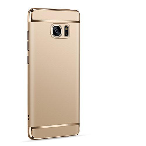 Xelcoy® 3 in 1 (Top + Bottom + Back) Shockproof Dual Layer Electroplated Case Cover For Samsung Galaxy Note 5 – Gold Golden