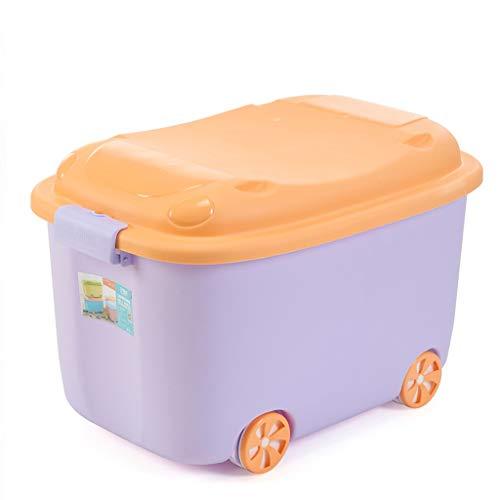 CJH Kreative Große Aufbewahrungsbox Kinderspielzeug Cartoon Kunststoff Aufbewahrungsbox Mit Rädern Kleidung Aufbewahrungsbox Lila