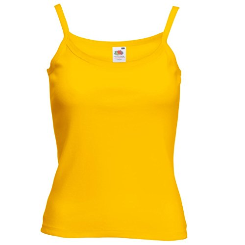 New–Lady-Fit Strap Tee Damen Casual Wear Sleeve Weniger selbst Stoff Cami Gelb - sunflower