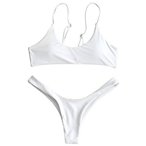 ZAFUL Damen Push-up Padded High Cut Thong Bikini Set Sommer Bademode Weiß S