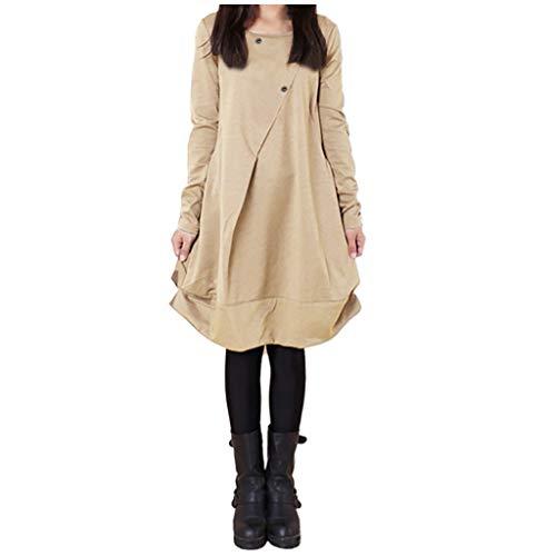 Shirt Kleider Winterkleid Damen Casual Minikleid, TPulling Damen Lässige Retro-Baumwolle und Leinen Knopf Lange Tops Bluse Lose Lange Ärmel Mini Hemd Kleid