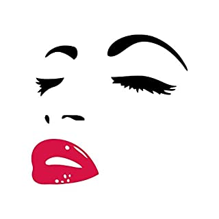 AWAKINK Women's Face Star Decor Face Red Lips Sticker Removable Wall Stickers Wall Decor Home Decor Wall Art Bedroom Living Room Sofa Tv Background DIY Art Decals