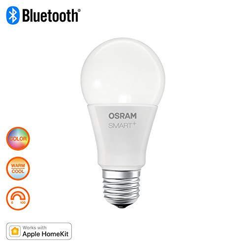 Osram Smart+ Lampadina LED Bluetooth Compatibile con Apple HomeKit e Android. 10W Goccia, E27, 60 W Equivalenti, Luce Colorata RGBW