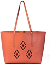 VINAY AND VIJAY's Fashionable,Imported And High Quality Finish, Light Gold Prims Faux Leather Bags In Peach Color...