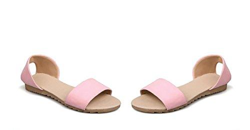 NobS Le donne della pelle scamosciata Open Toe Ragazze Sandali Large Size 40 41 42 43 Scarpe Flats fibbia Court Pink